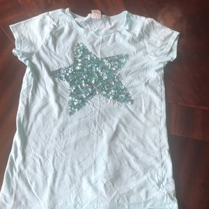 Crewcuts Turquoise Sequined Star T Shirt